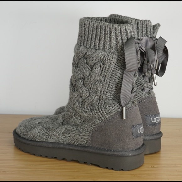 df3739a4ebfa UGG Australia Isla Charcoal Cable Knit Grey Boots
